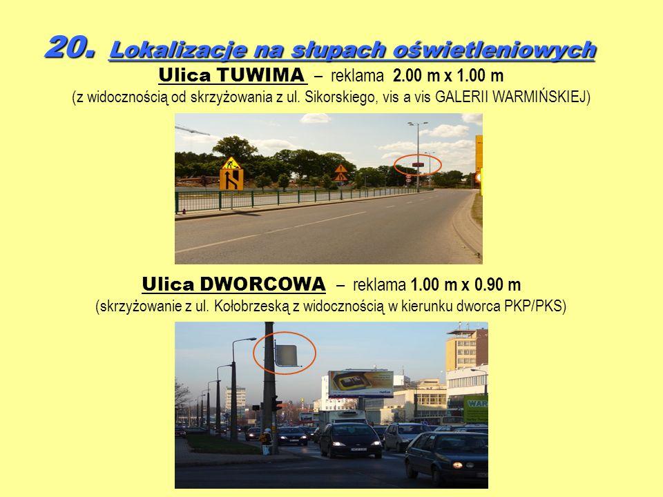 20. Lokalizacje na słupach oświetleniowych