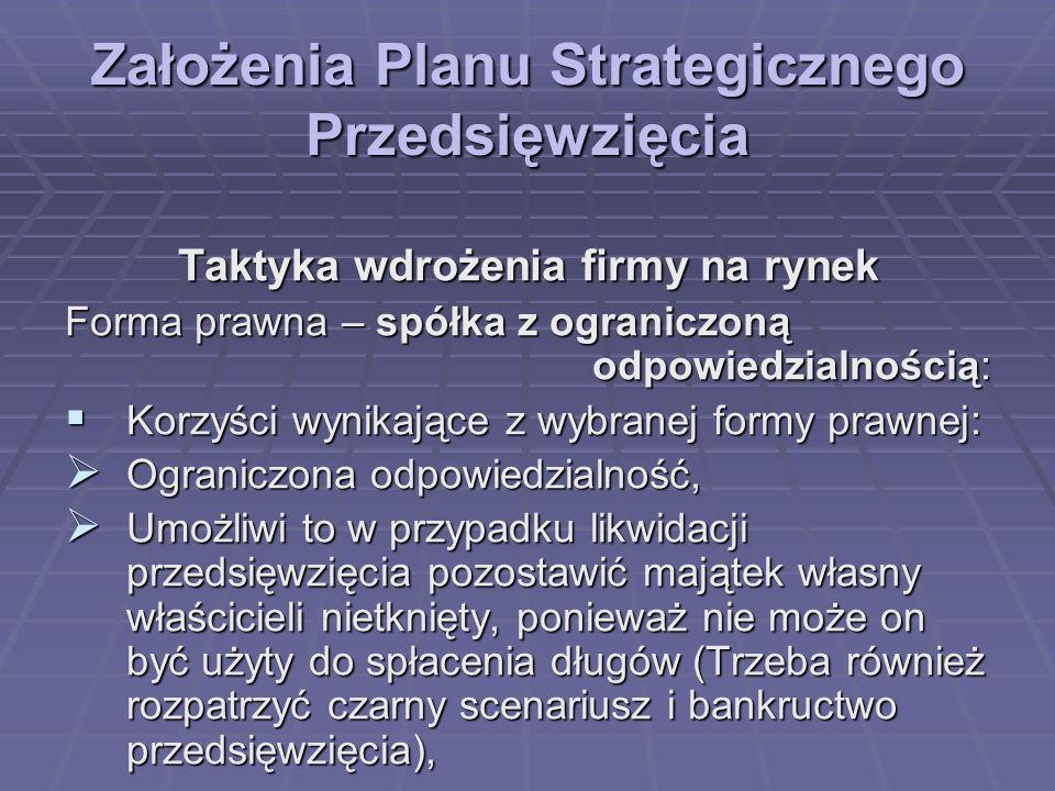 Założenia Planu Strategicznego Przedsięwzięcia