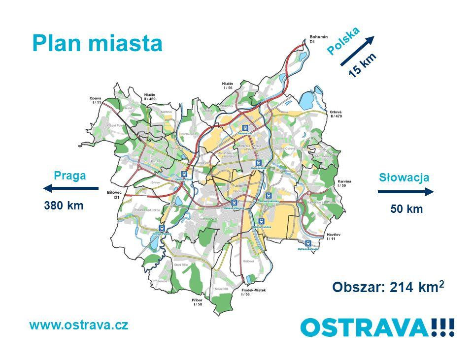 Plan miasta Obszar: 214 km2 www.ostrava.cz Polska 15 km Praga Słowacja