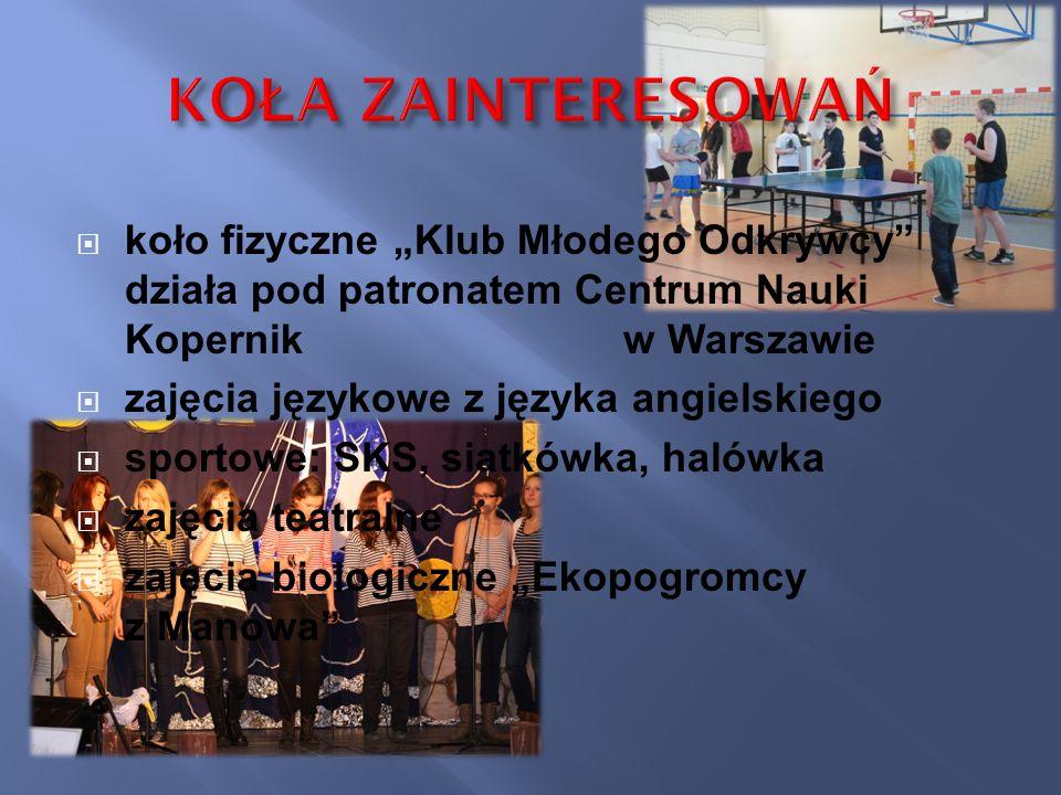 """KOŁA ZAINTERESOWAŃ koło fizyczne """"Klub Młodego Odkrywcy działa pod patronatem Centrum Nauki Kopernik w Warszawie."""
