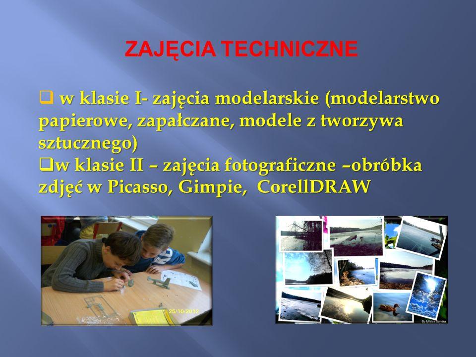 ZAJĘCIA TECHNICZNE w klasie I- zajęcia modelarskie (modelarstwo papierowe, zapałczane, modele z tworzywa sztucznego)