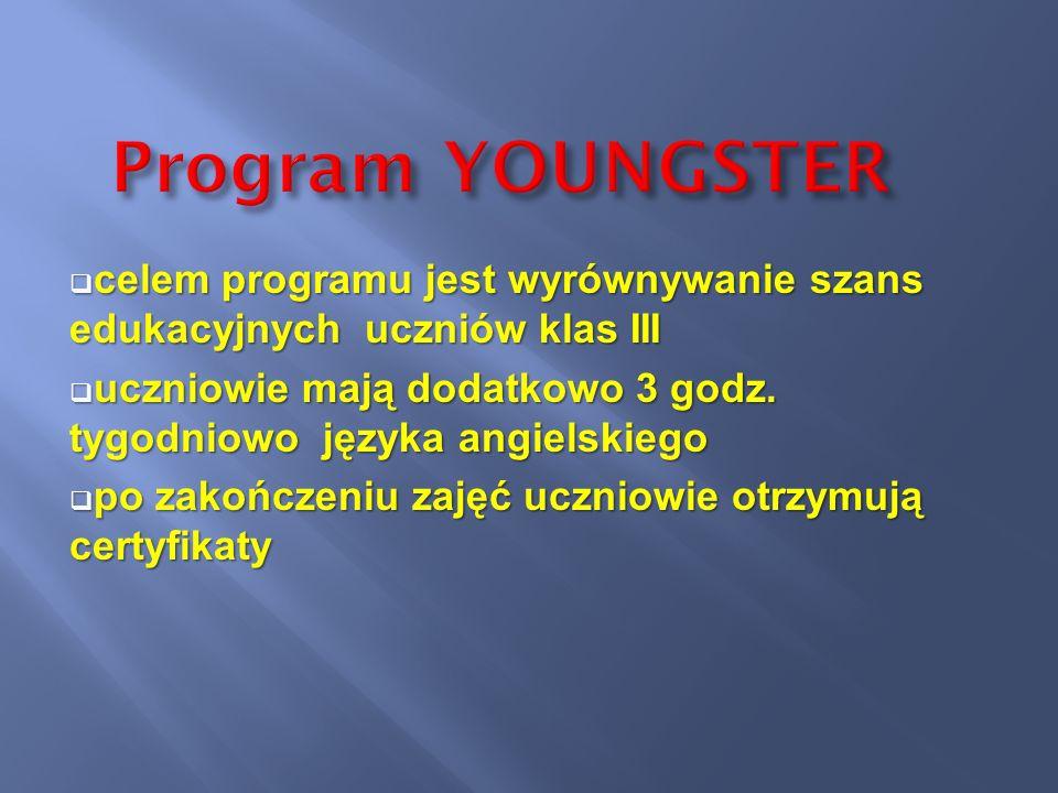 Program YOUNGSTER celem programu jest wyrównywanie szans edukacyjnych uczniów klas III.