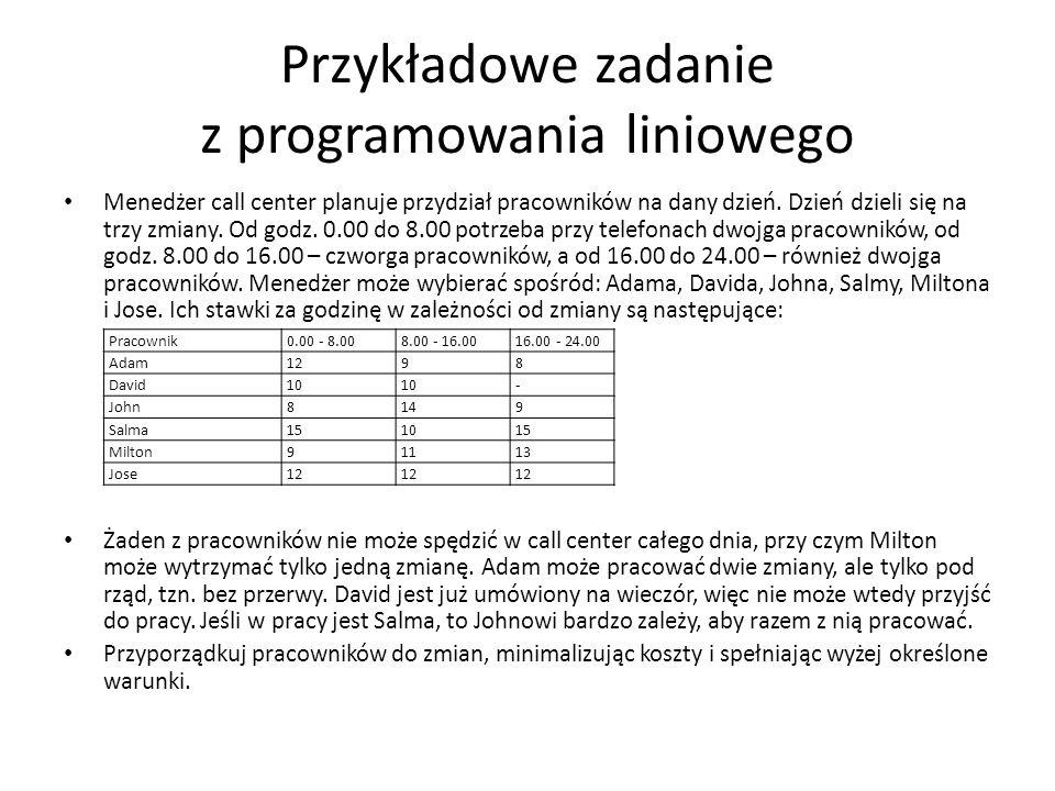 Przykładowe zadanie z programowania liniowego