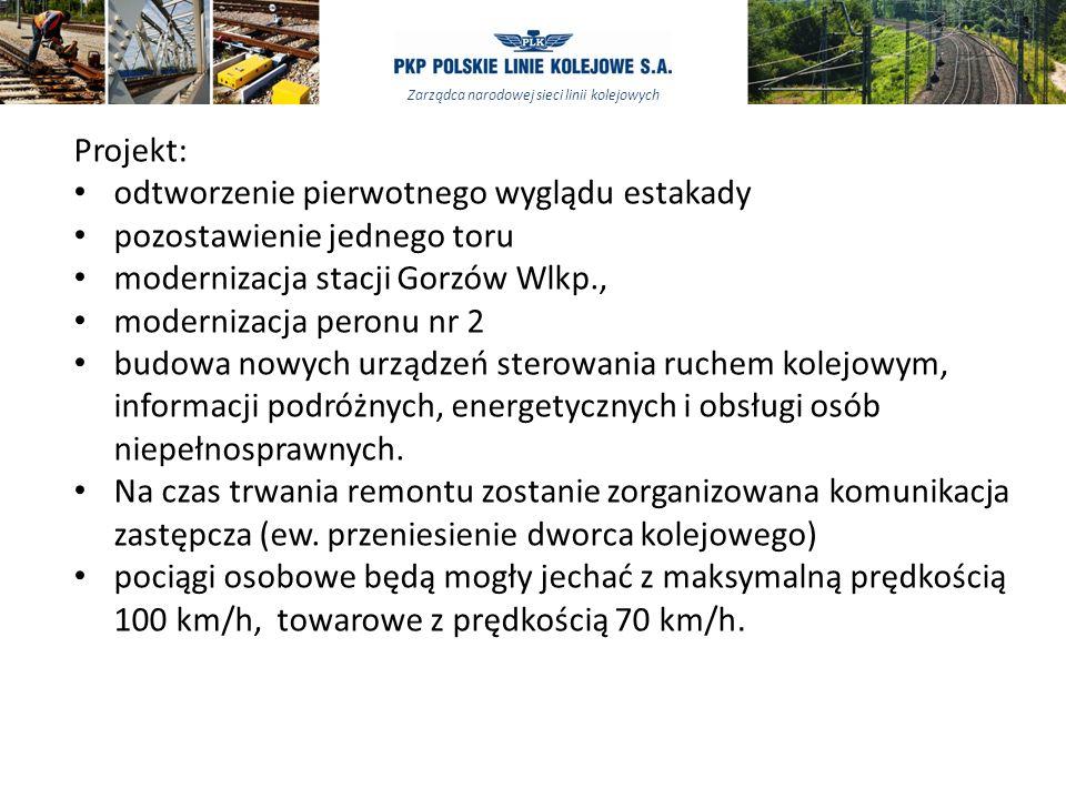 Projekt: odtworzenie pierwotnego wyglądu estakady. pozostawienie jednego toru. modernizacja stacji Gorzów Wlkp.,