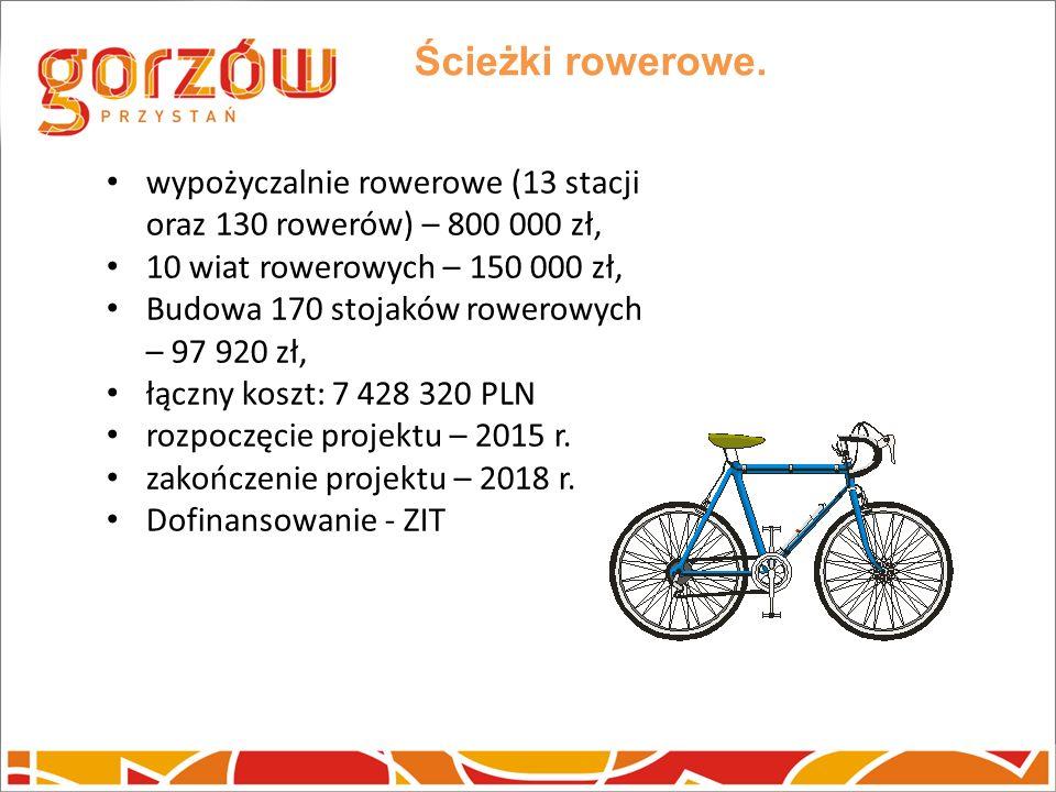 Ścieżki rowerowe. wypożyczalnie rowerowe (13 stacji oraz 130 rowerów) – 800 000 zł, 10 wiat rowerowych – 150 000 zł,