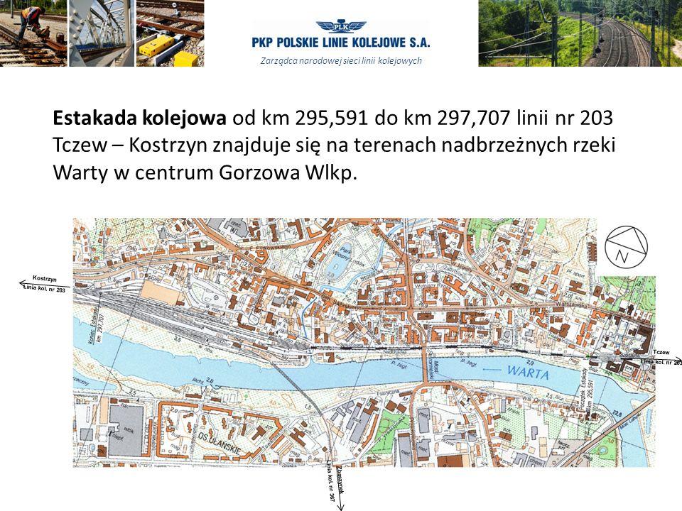 Estakada kolejowa od km 295,591 do km 297,707 linii nr 203 Tczew – Kostrzyn znajduje się na terenach nadbrzeżnych rzeki Warty w centrum Gorzowa Wlkp.