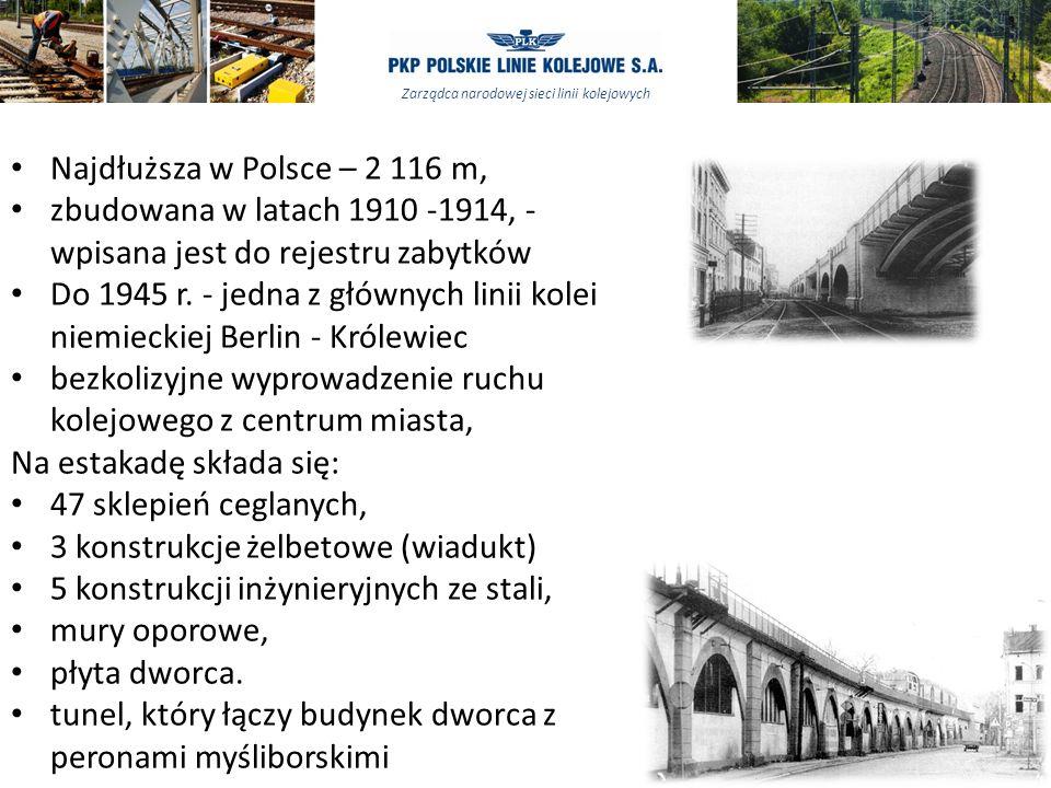 Najdłuższa w Polsce – 2 116 m, zbudowana w latach 1910 -1914, - wpisana jest do rejestru zabytków.