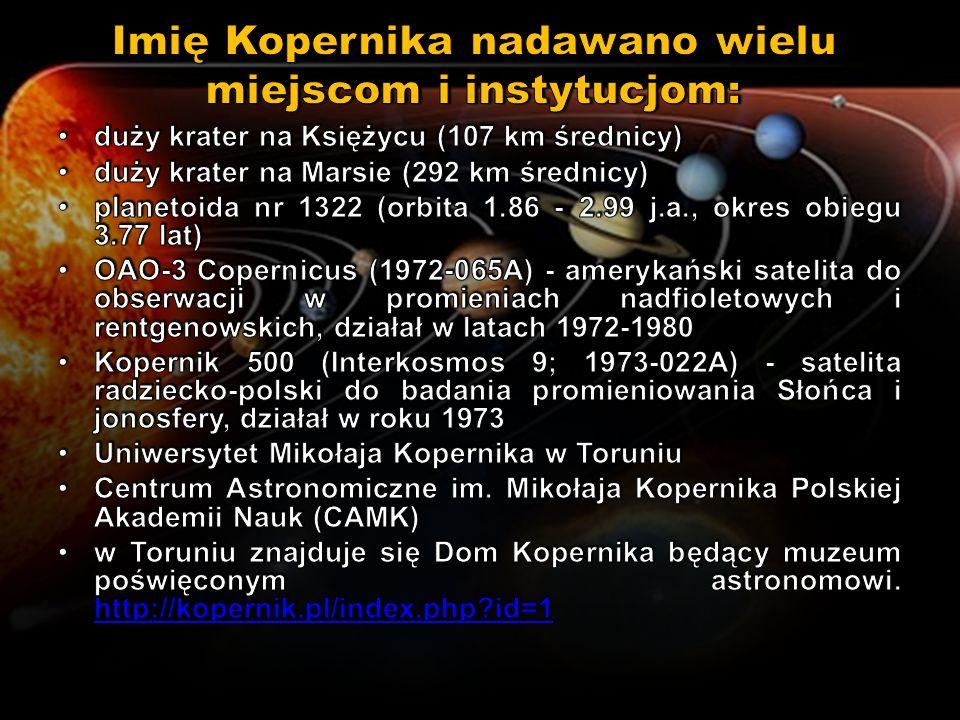 Imię Kopernika nadawano wielu miejscom i instytucjom: