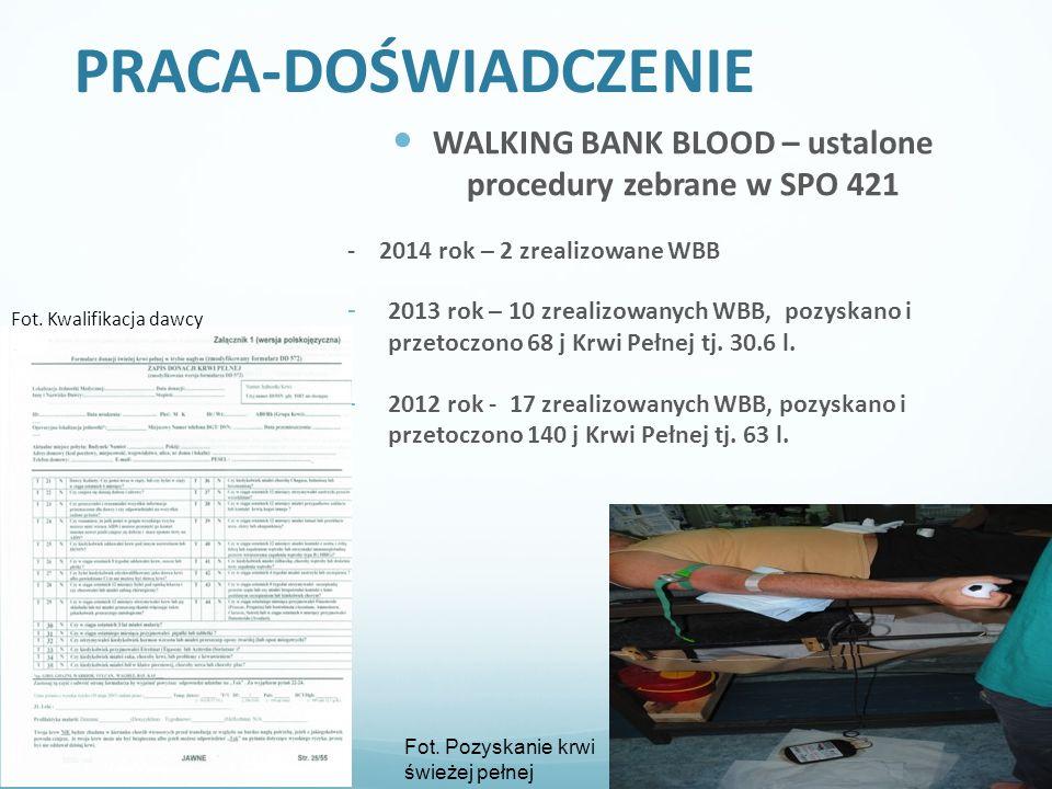 WALKING BANK BLOOD – ustalone procedury zebrane w SPO 421