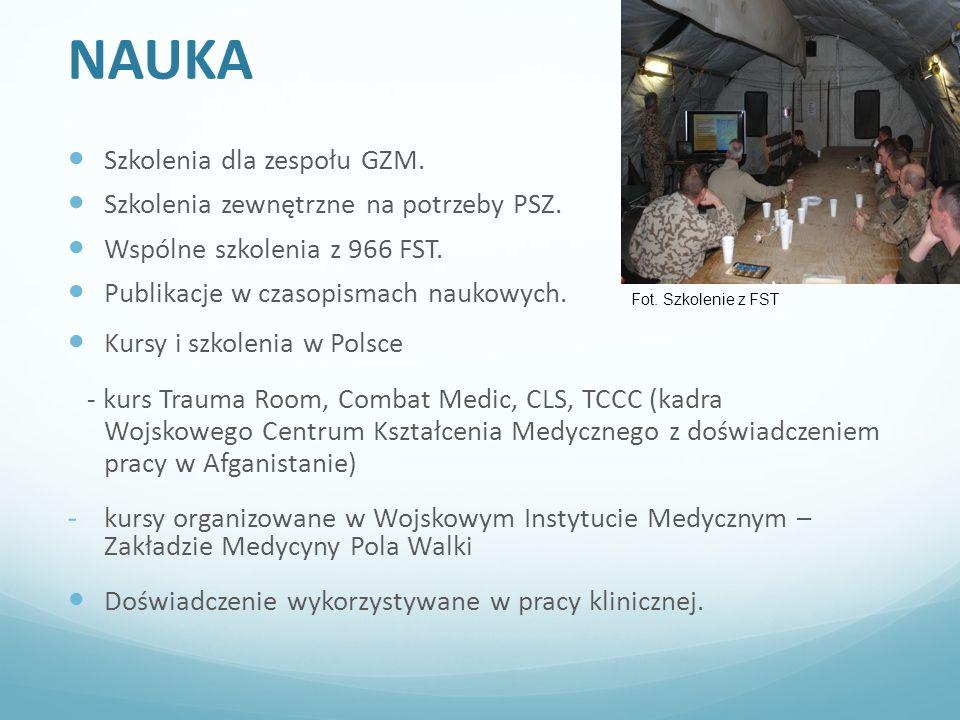 NAUKA Szkolenia dla zespołu GZM. Szkolenia zewnętrzne na potrzeby PSZ.