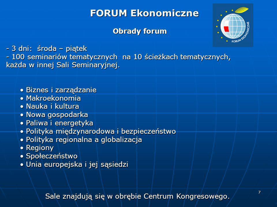 FORUM Ekonomiczne Obrady forum - 3 dni: środa – piątek