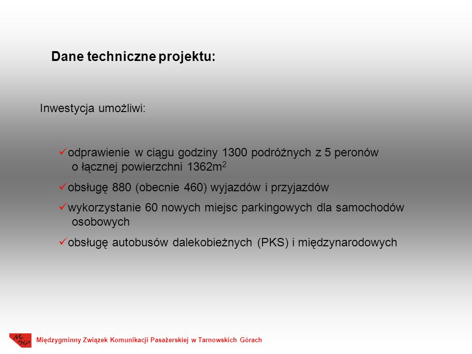 Dane techniczne projektu: