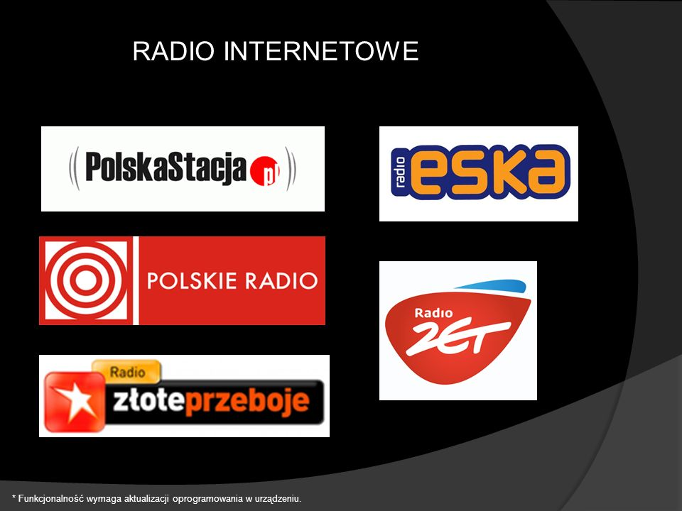 RADIO INTERNETOWE * Funkcjonalność wymaga aktualizacji oprogramowania w urządzeniu.