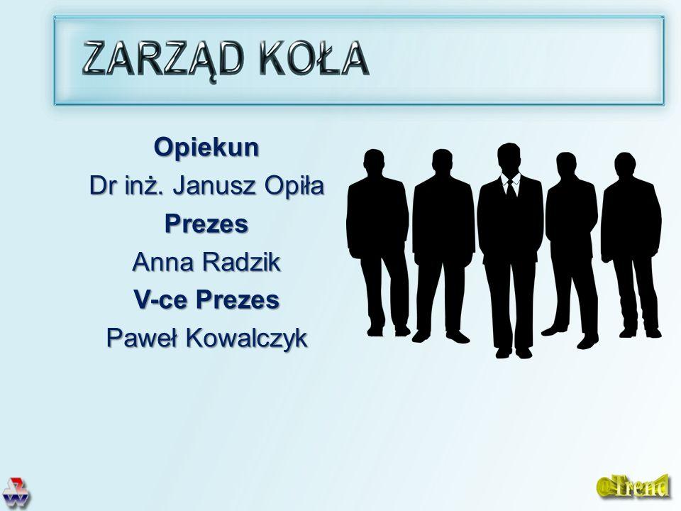 Opiekun Dr inż. Janusz Opiła Prezes Anna Radzik V-ce Prezes Paweł Kowalczyk