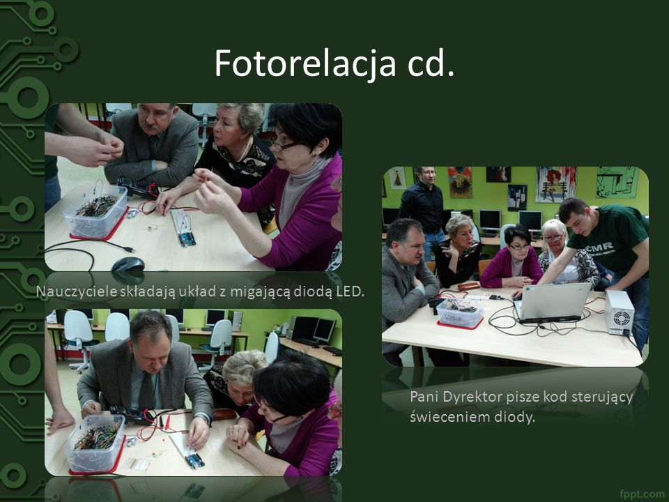 Fotorelacja cd. Nauczyciele składają układ z migającą diodą LED.