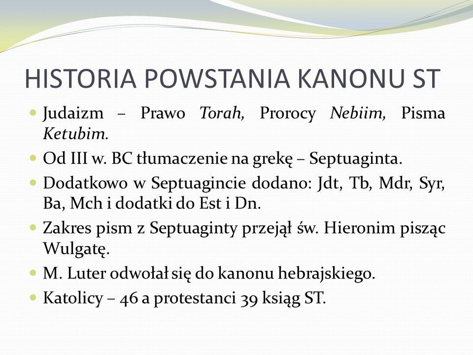HISTORIA POWSTANIA KANONU ST