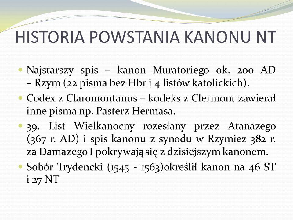 HISTORIA POWSTANIA KANONU NT