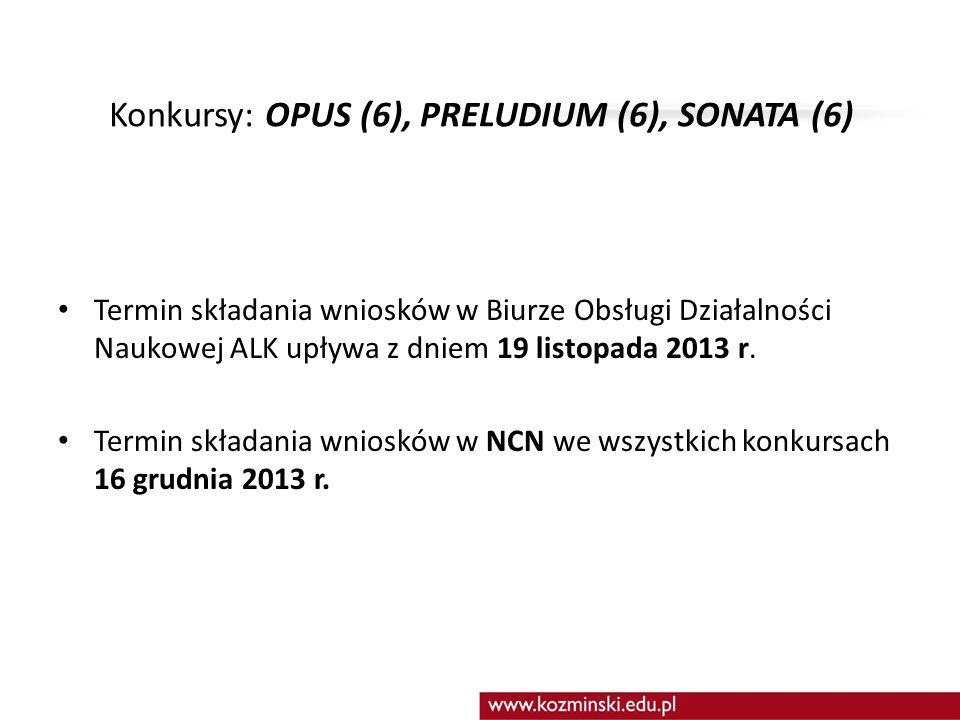 Konkursy: OPUS (6), PRELUDIUM (6), SONATA (6)