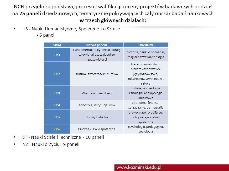 NCN przyjęło za podstawę procesu kwalifikacji i oceny projektów badawczych podział na 25 paneli dziedzinowych, tematycznie pokrywających cały obszar badań naukowych w trzech głównych działach: