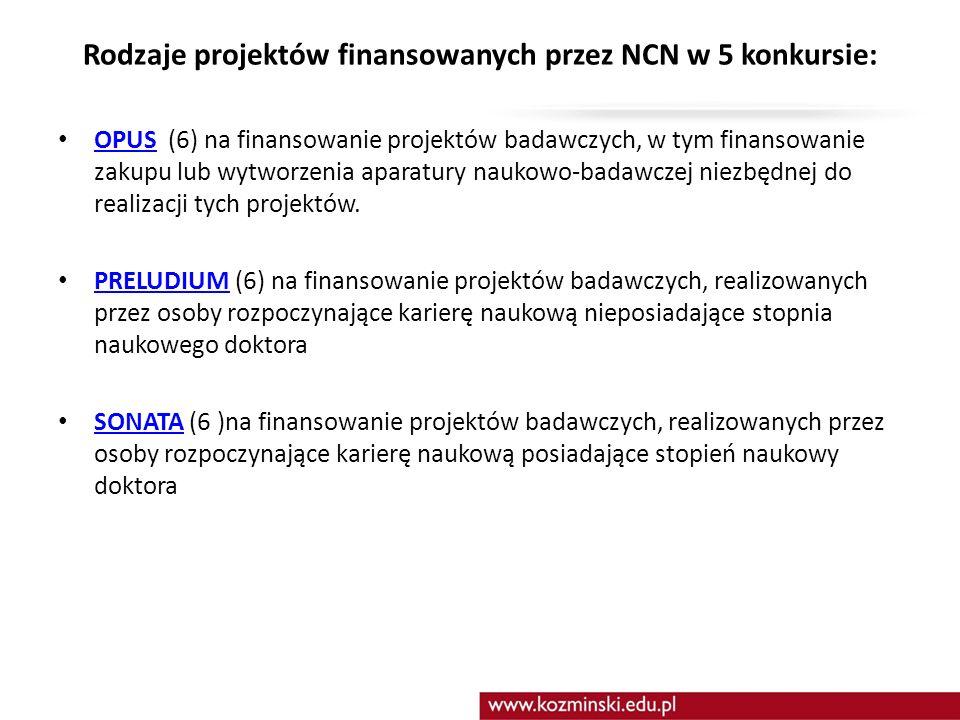 Rodzaje projektów finansowanych przez NCN w 5 konkursie: