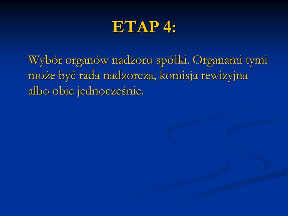 ETAP 4: Wybór organów nadzoru spółki.
