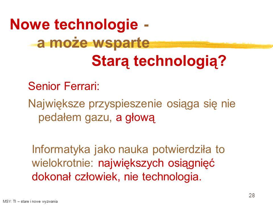 Nowe technologie - a może wsparte Starą technologią