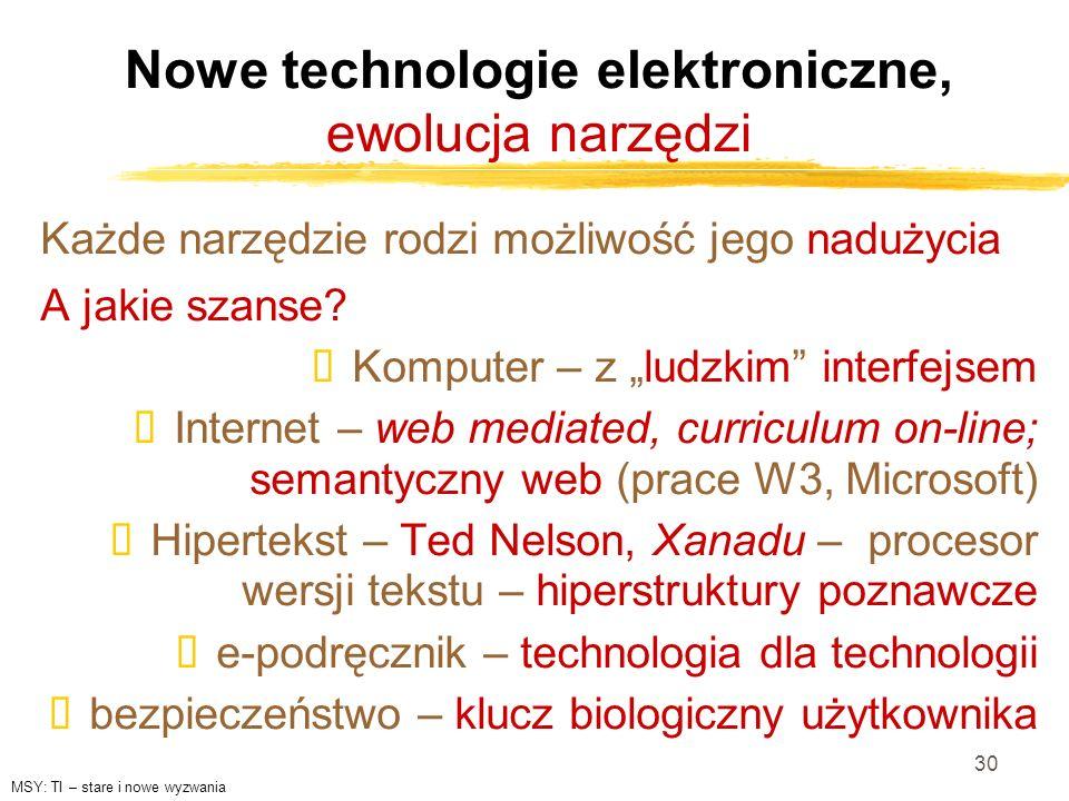 Nowe technologie elektroniczne, ewolucja narzędzi