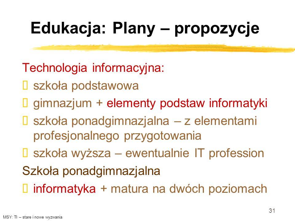 Edukacja: Plany – propozycje