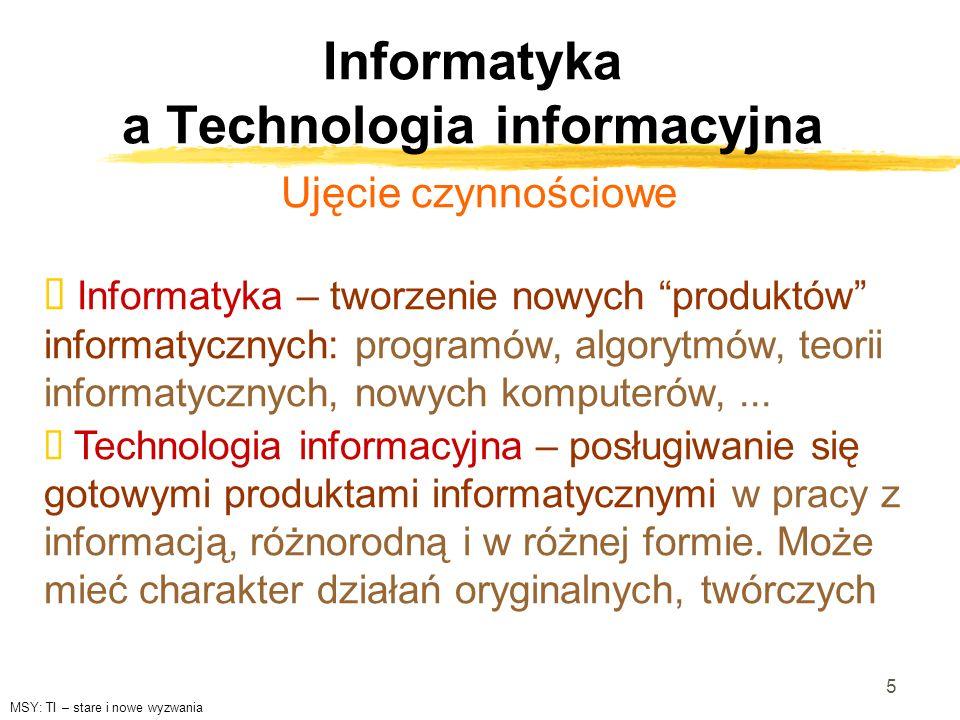 Informatyka a Technologia informacyjna Ujęcie czynnościowe