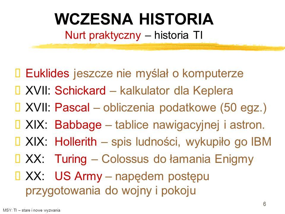 WCZESNA HISTORIA Nurt praktyczny – historia TI