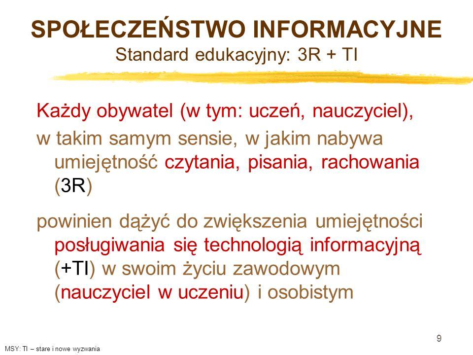 SPOŁECZEŃSTWO INFORMACYJNE Standard edukacyjny: 3R + TI