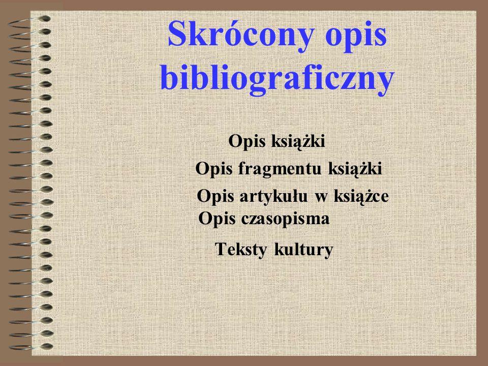Skrócony opis bibliograficzny
