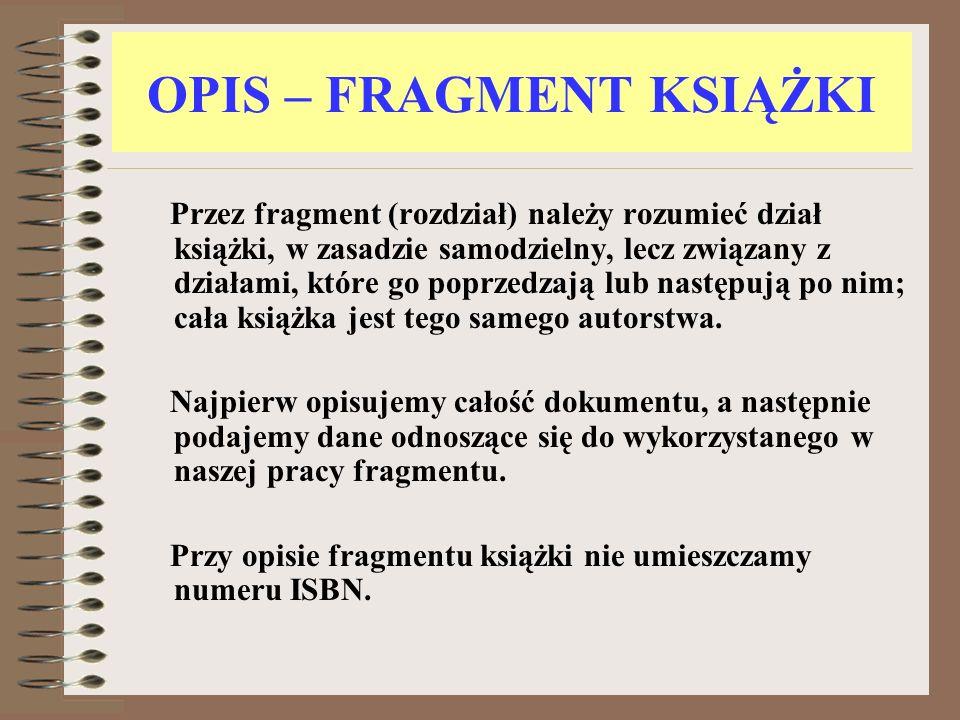 OPIS – FRAGMENT KSIĄŻKI