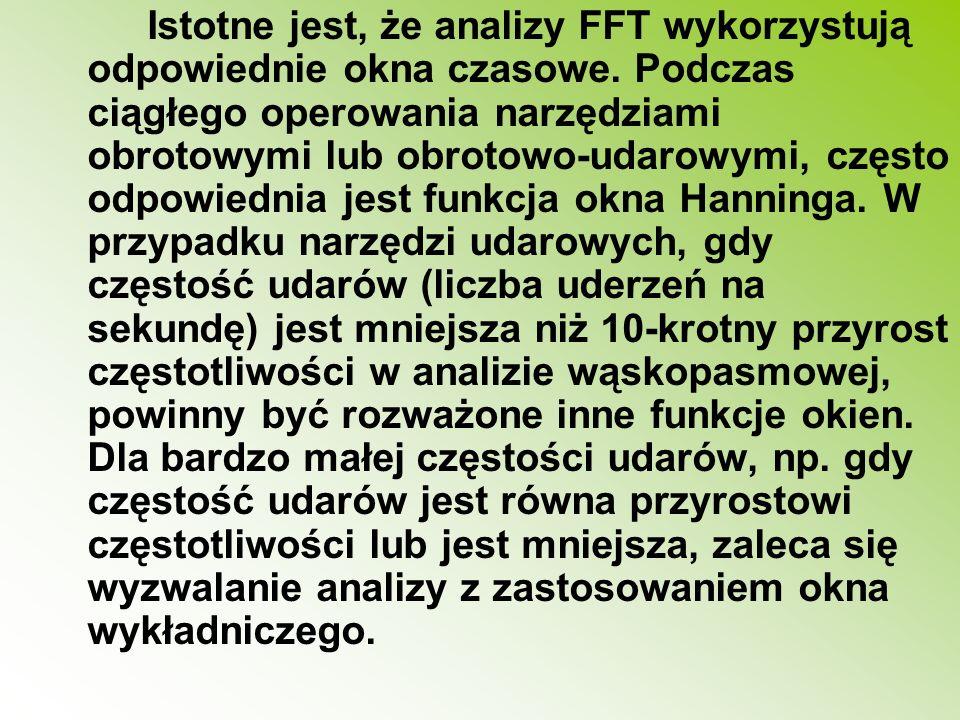 Istotne jest, że analizy FFT wykorzystują odpowiednie okna czasowe
