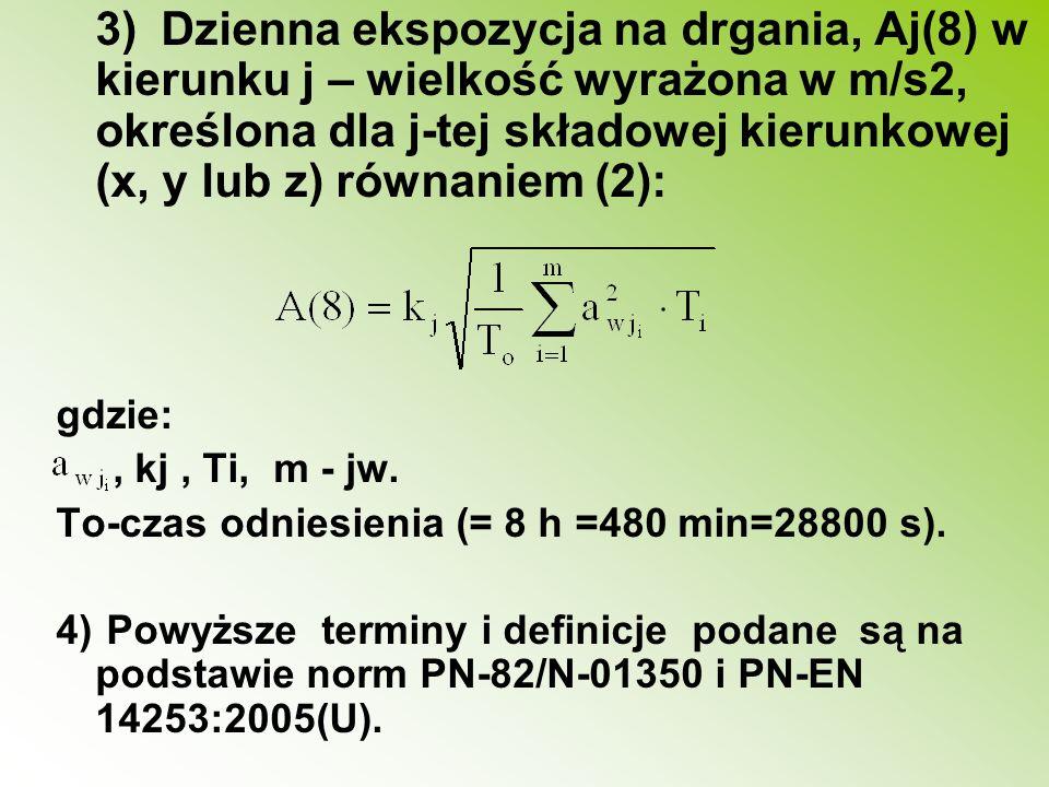 3) Dzienna ekspozycja na drgania, Aj(8) w kierunku j – wielkość wyrażona w m/s2, określona dla j-tej składowej kierunkowej (x, y lub z) równaniem (2):