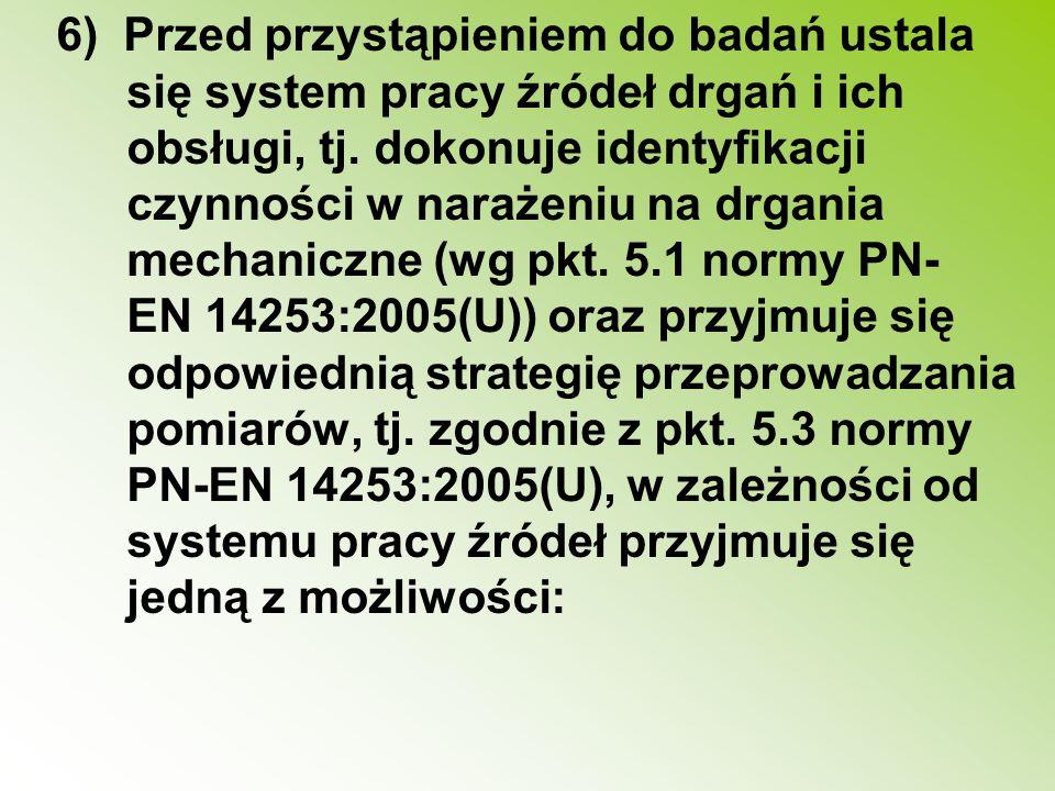 6) Przed przystąpieniem do badań ustala się system pracy źródeł drgań i ich obsługi, tj.