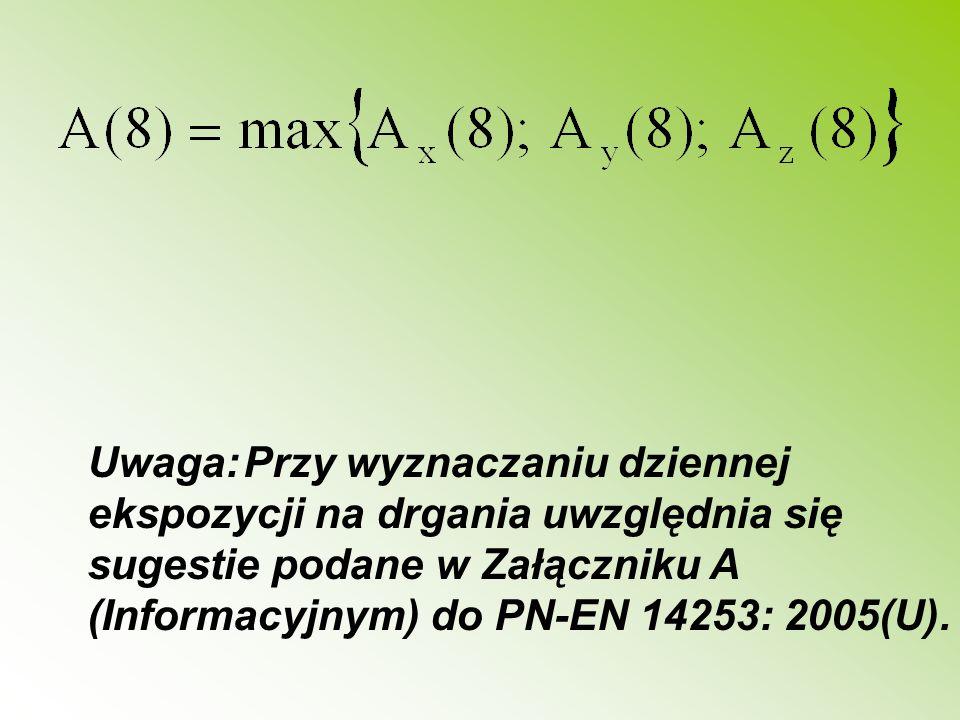 Uwaga: Przy wyznaczaniu dziennej ekspozycji na drgania uwzględnia się sugestie podane w Załączniku A (Informacyjnym) do PN-EN 14253: 2005(U).