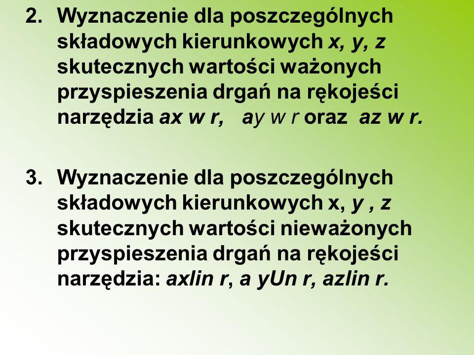 Wyznaczenie dla poszczególnych składowych kierunkowych x, y, z skutecznych wartości ważonych przyspieszenia drgań na rękojeści narzędzia ax w r, ay w r oraz az w r.