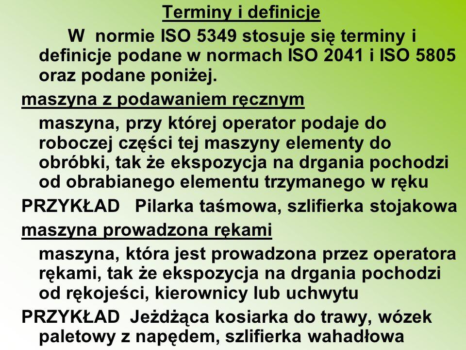 Terminy i definicje W normie ISO 5349 stosuje się terminy i definicje podane w normach ISO 2041 i ISO 5805 oraz podane poniżej.