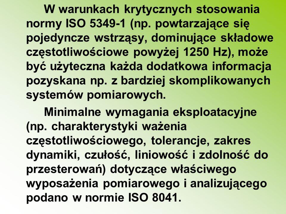 W warunkach krytycznych stosowania normy ISO 5349-1 (np