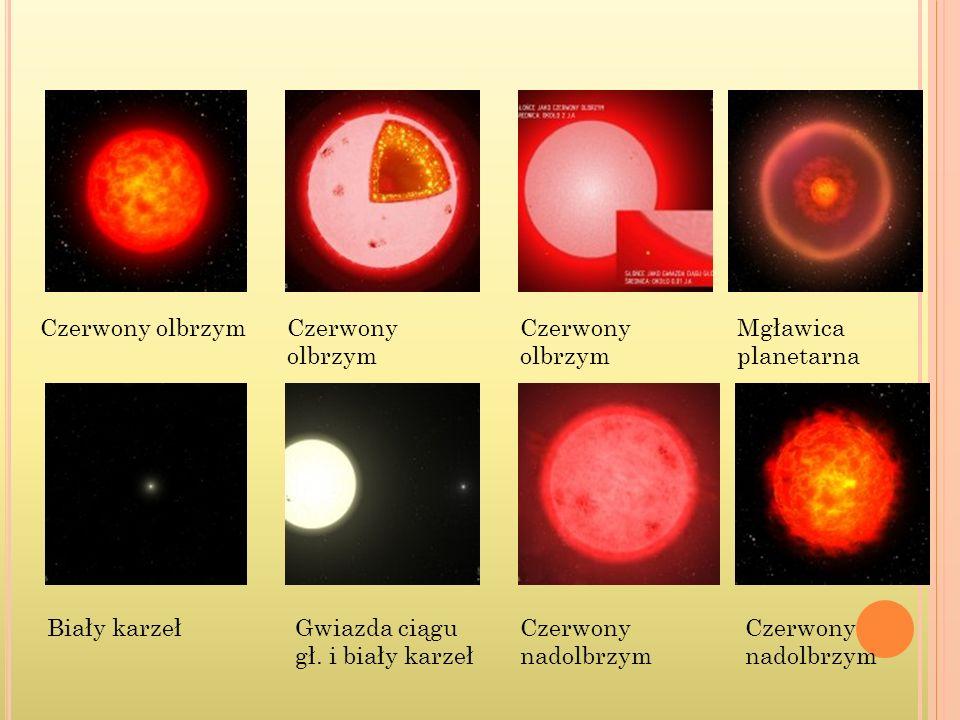 Czerwony olbrzym Czerwony olbrzym. Czerwony olbrzym. Mgławica planetarna. Biały karzeł. Gwiazda ciągu gł. i biały karzeł.