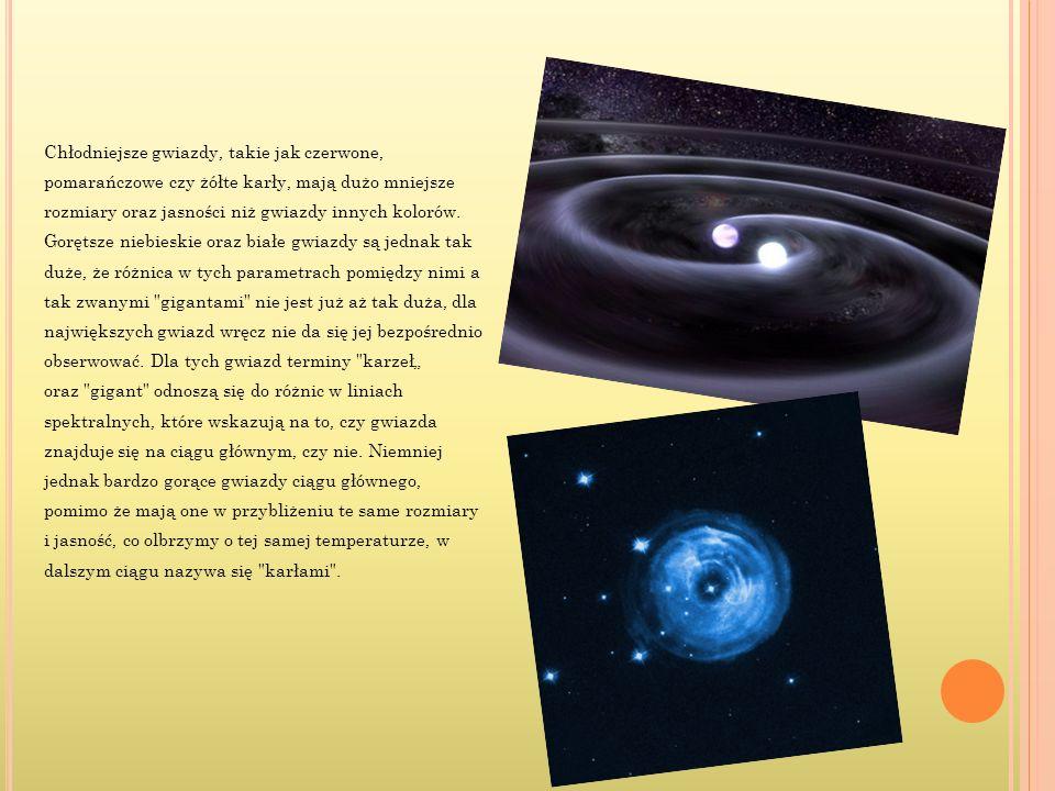 Chłodniejsze gwiazdy, takie jak czerwone, pomarańczowe czy żółte karły, mają dużo mniejsze rozmiary oraz jasności niż gwiazdy innych kolorów.