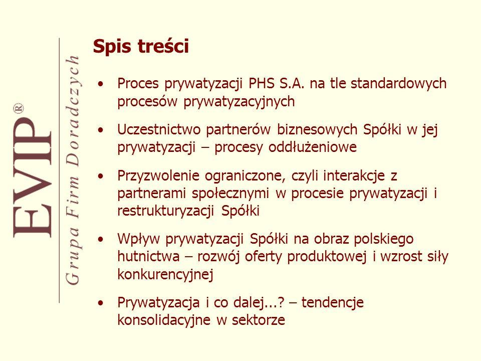 Spis treści Proces prywatyzacji PHS S.A. na tle standardowych procesów prywatyzacyjnych.