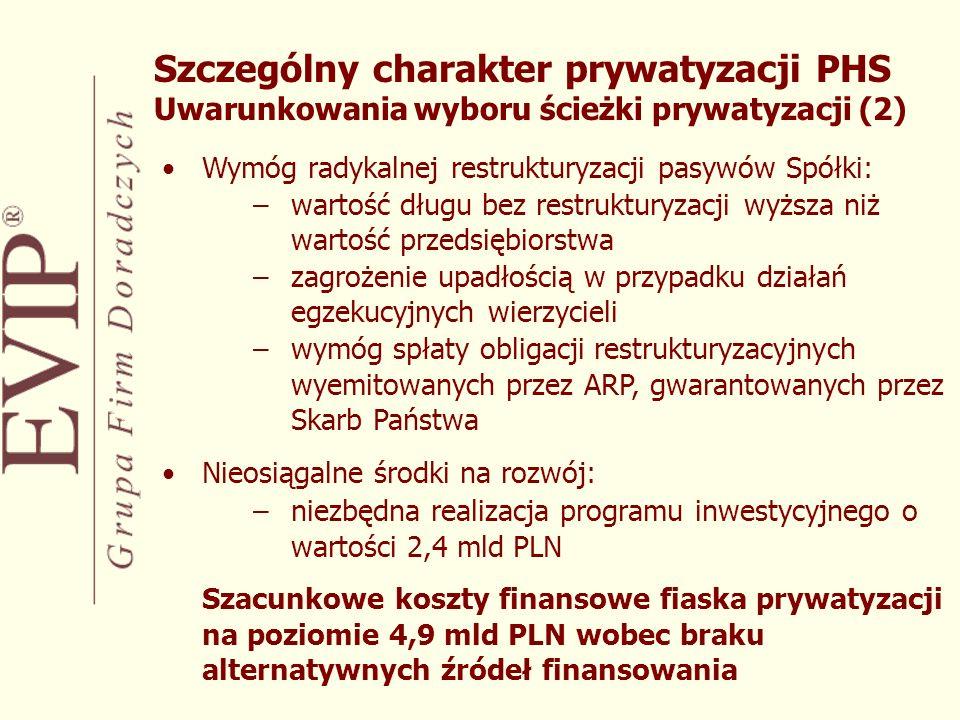 Szczególny charakter prywatyzacji PHS Uwarunkowania wyboru ścieżki prywatyzacji (2)