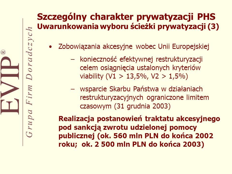 Szczególny charakter prywatyzacji PHS Uwarunkowania wyboru ścieżki prywatyzacji (3)