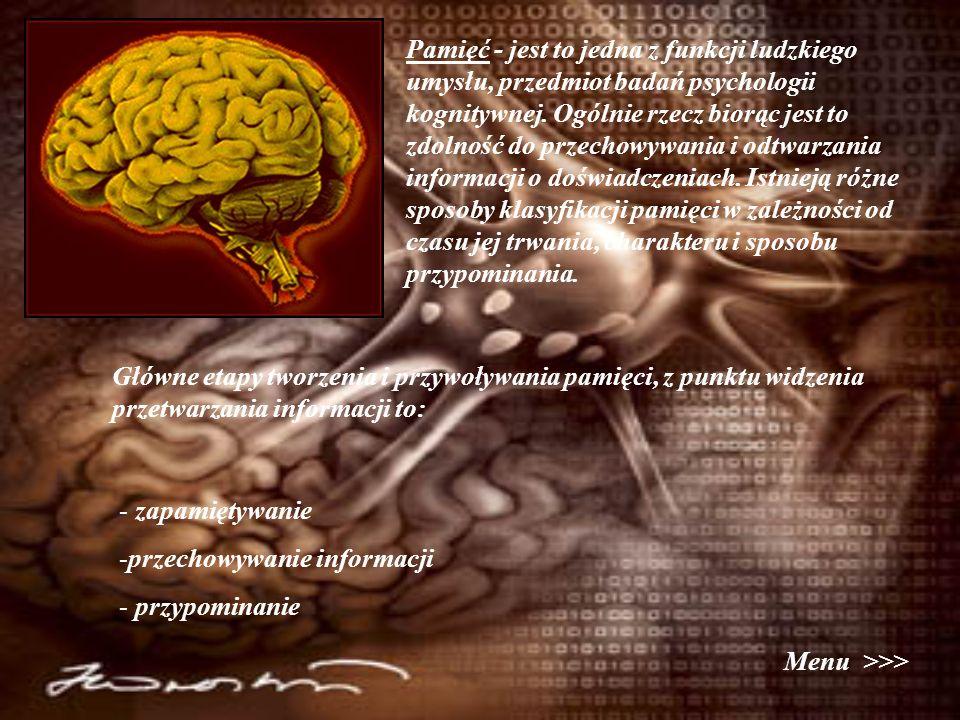 Pamięć - jest to jedna z funkcji ludzkiego umysłu, przedmiot badań psychologii kognitywnej. Ogólnie rzecz biorąc jest to zdolność do przechowywania i odtwarzania informacji o doświadczeniach. Istnieją różne sposoby klasyfikacji pamięci w zależności od czasu jej trwania, charakteru i sposobu przypominania.