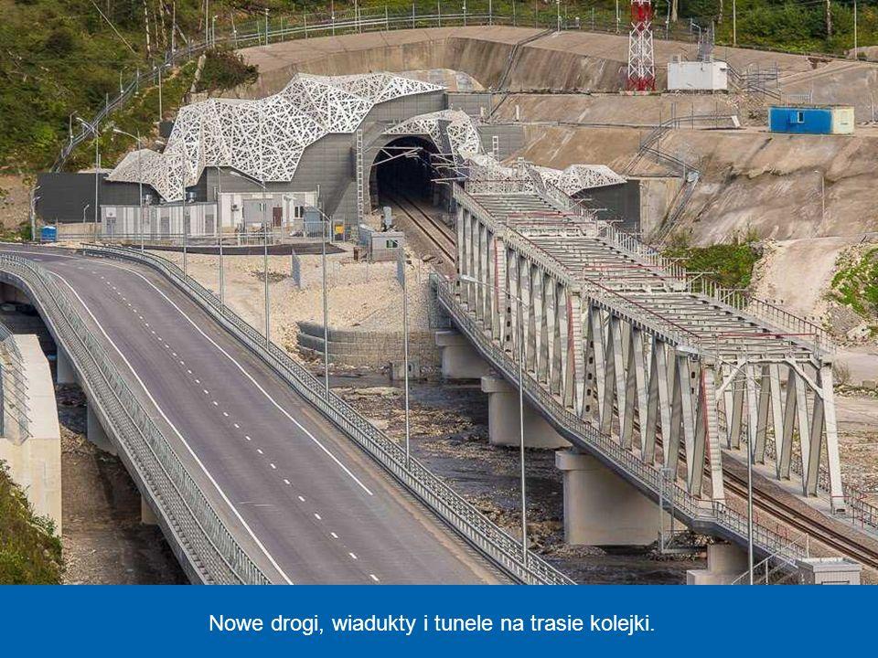 Nowe drogi, wiadukty i tunele na trasie kolejki.