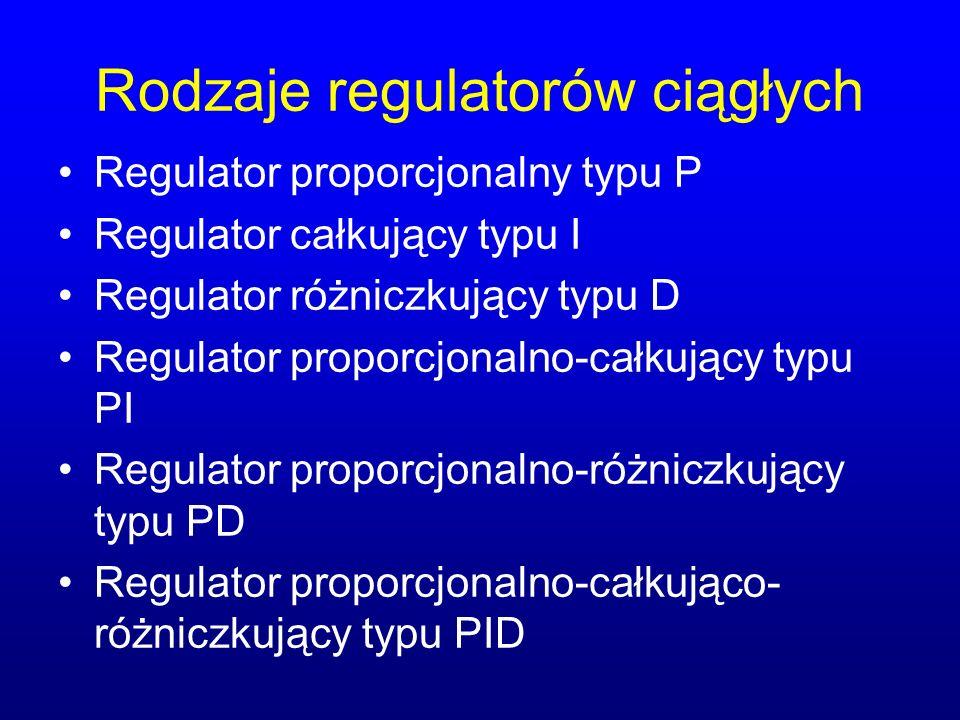 Rodzaje regulatorów ciągłych