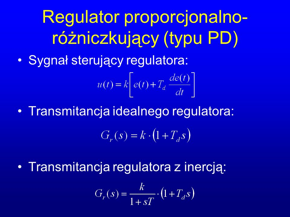 Regulator proporcjonalno-różniczkujący (typu PD)