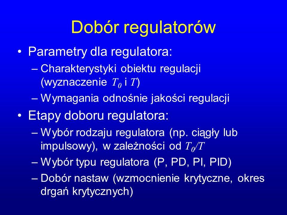 Dobór regulatorów Parametry dla regulatora: Etapy doboru regulatora: